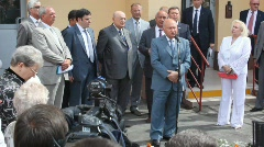 Yuri Luzhkov  giving speech at the opening of the new apartment building Stock Footage