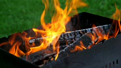 Flame over logs in the grill, close-up Stock Footage
