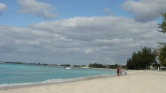 Beach Scene - 7 Mile Beach Grand Cayman - stock footage