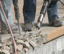 Jackhammer pool coping CU Stock Footage