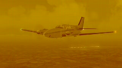 Airplane in yellow tone Stock Footage
