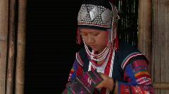 Thailand: Ethnic Minority women sewing Stock Footage