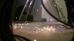 Sparks on the floor Stock Footage