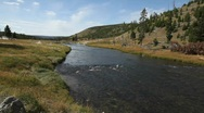 Thermal River Running through Yellowstone National Park Stock Footage