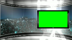 HD Virtual TV studio news set with city skyline in the background Stock Footage