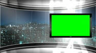 Stock Video Footage of HD Virtual TV studio news set with city skyline in the background