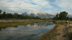 Schwabacher Landing in Grand Tetons National Park Stock Footage