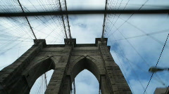 Driving over Brooklyn Bridge, looking up - stock footage