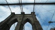 Stock Video Footage of Driving over Brooklyn Bridge, looking up
