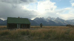 Mormon Barn Cabin in Grand Tetons National Park Stock Footage