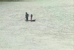 Congo River boat 01 Stock Footage