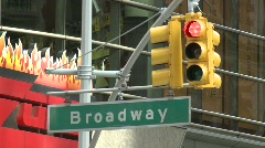 Broadway traffic light green, NY Stock Footage