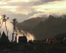 Sunset shira camp Stock Footage