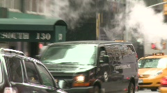 Edgy New York traffic with bus and steam Stock Footage