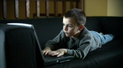 Boy and Laptop 496 Stock Footage