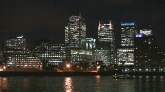 London Canary Warf and River Thames Stock Footage