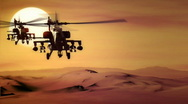 Stock Video Footage of AH-64 Apache SUNSET