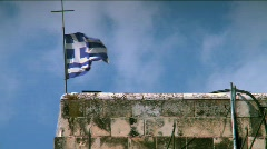 Monastery of the Cross flag of Greece Stock Footage
