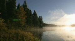 Misty morning lake. Stock Footage
