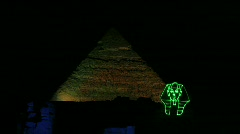 Night Show with Sphinx and Pyramids Stock Footage