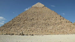 Great Pyramid with Horses and People in Background Stock Footage