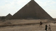 Stock Video Footage of Great Pyramid in Giza Egypt with Tourists