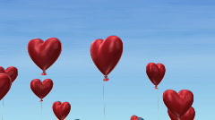 Heart Balloons Flying Into Sky HD Stock Footage
