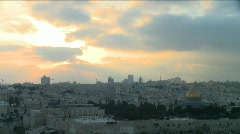Jerusalem skyline at sunset - Time lapse Stock Footage