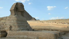 Sphinx and Great Pyramids in Giza Egypt Stock Footage