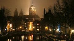 Amsterdam Red Light District at Night with Church - stock footage