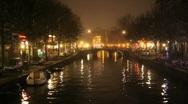 Amsterdam Red Light District at Night with Canal Stock Footage