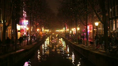 Amsterdam Red Light District at Night Stock Footage