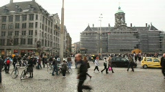 Dam Square with Tourists in Amsterdam Stock Footage