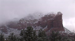 Sedona timelaspe of Thunder Mountain with snow Stock Footage