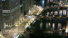 Aerial View of Chicago Riverfront at Night - stock footage