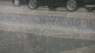 Stock Video Footage of Heavy rain on the street.