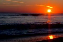Stock Video Footage of Sunrise over the Atlantic ocean with audio