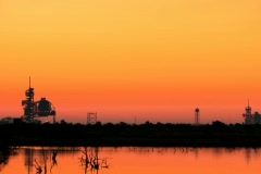 Shuttle launch pad just beore sunrise from distance Stock Footage