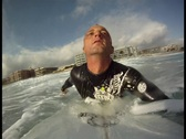 Stock Video Footage of Surfer Paddling Out