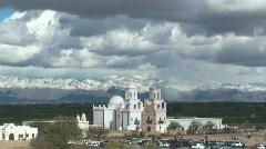 San Xavier Mission Tourists Stock Footage