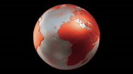 Metalic Planet Earth Spin Loop Red Stock Footage