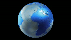 Metalic Planet Earth Spin Loop Blue Stock Footage