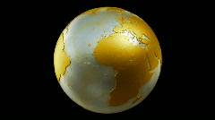 Metalic Planet Earth Spin Loop Gold Stock Footage