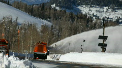 Mountain road winter snow plow P HD 6341 Stock Footage