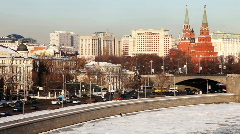 Moscow Kremlin and  river with traffic at winter sunset Stock Footage
