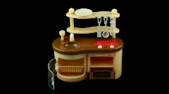 Assemblage of toy kitchen and table with dish. Time lapse. Stock Footage