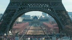 Tour Eiffel keeps away. Movement under Tour Eiffel in a current of day: Stock Footage