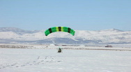 Stock Video Footage of Power parachute green takeoff ice P HD 5841