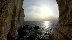 The grottoes of Rosh Hanikra, Galilee, Israel  Stock Footage