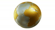 Metalic Planet Earth Spin Loop Gold on White Stock Footage
